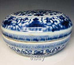 Grand Antique Chinois Wanli Porcelaine Bleue Et Blanche Dragon Fruit Box