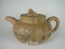 Grand Antique Chinois Yixing Teapot Calligraphie Seal Mark