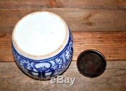 Grand Antique Et Bleu Chinois En Porcelaine Blanche Bonheur Ginger Jar Poterie Vase