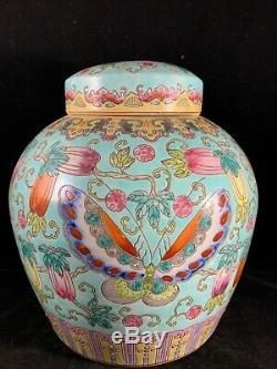 Grand Antique Famille Chinoise Pot En Porcelaine Rose Avec Le Papillon Et La Fleur