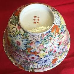 Grand Antique Famille Rose Bowl Millefleur Guangxu Mark (six Caractères) Et Période