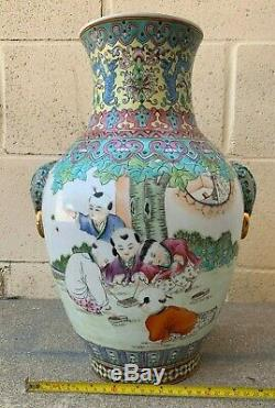 Grand Antique Famille Rose Vase En Porcelaine Chinoise Avec Des Enfants Jouant