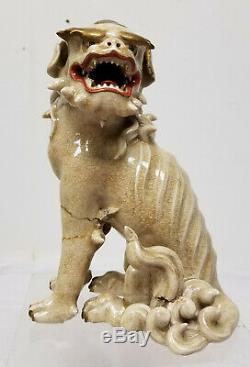 Grand Antique Japonais Satsuma Foo Dog Lion Kirin Seated Figure Statue Tel Quel