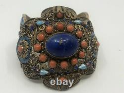 Grand Antique Lapis Coral Chinois Argent Filigree Blue Enamel Butterfly Bracelet