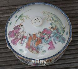 Grand Antique Lidded Bol Avec Polychromie Période Tongzhi