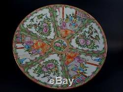 Grand Antique Médaillon Canton Famille Rose Chinois Chargeur Platter 13 3/8