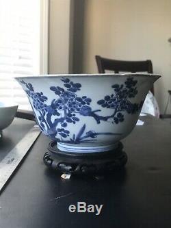 Grand Antique Porcelaine Chinoise De Riz Bleu Et Blanc Bowl Kangxi Période. Marque