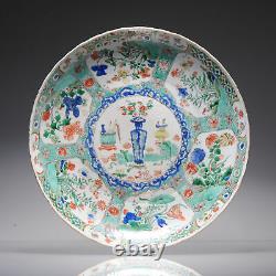 Grand Antique Porcelaine Chinoise Famille Plat Verte Fleurs Paysage Kangxi P