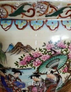 Grand Antique Poterie Oriental Asiatique Chinoise Porcelaine Fish Bowl Planteur