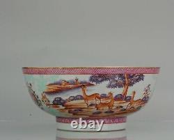 Grand Antique Qianlong 18ème Mandarin Rose Porcelain Bowl Chinois Deer Ox