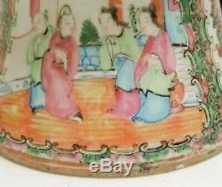 Grand Antique Qing Chinois 12 Pouces Vase Famille Rose Panneaux Mandarin Canton Zun