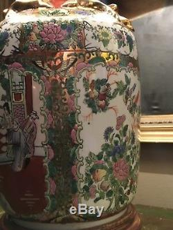 Grand Antique Vintage Canton Chinese Famille Rose Lampe De Table
