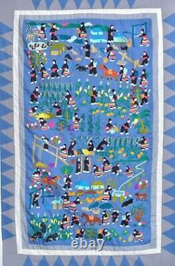 Grand Antique / Vintage Chinois Thai Blue Hmong Brodery Tapestry