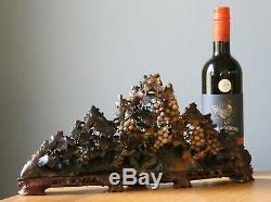 Grand Antique Vintage Vignes De Raisin Chinois Et Écureuils Soapstone Carving