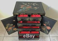 Grand Antique / Vtg Noir Laqué Chinoise Boîte À Bijoux Poitrine Cabinet Side / End Table