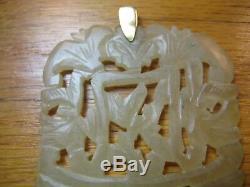 Grand Antique Vtg Sculpté Plate Jade Pendentif En Or 14k Hetian Céladon Néphrite