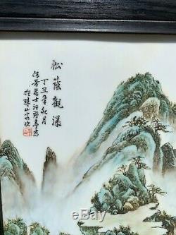 Grand Arbre Montagne Antique Chinoise Peinture Sur Carreaux De Porcelaine Plaque 2 Pièces