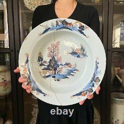 Grand Bassin Chinois Antique De Porcelaine D'imari Lavage À La Main Tôt 18ème Siècle