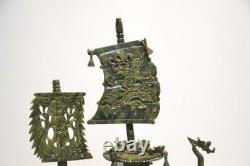 Grand Bateau Chinois De Dragon Sculpté De Jade De Hardstone 24x5x20 1/2 Oriental