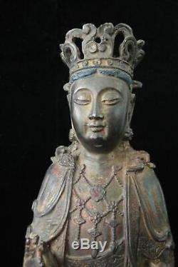 Grand Beau Vieux Bronze Chinois Guanyin Bouddha Sculpture Statue Marks