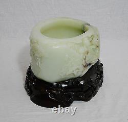 Grand Bien Sculpté À La Main Chinoise Tian He-blanc Jade Brosse Laveuse