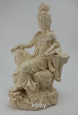 Grand Blanc Chinois Antique De Chine Guanyin, 19ème Siècle Qianlong Mark 15