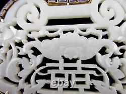 Grand Blanc Sculptée Jade 14k Bat Double Bonheur Pendentif En Émanel