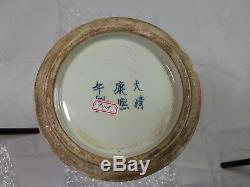 Grand Bleu Et Blanc Chinois Gu Vase Kangxi Période Mark