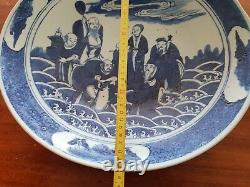 Grand Bleu Et Blanc Plaque Chinois Kangxi Quatre Caractères 8 Immortels 40 CM