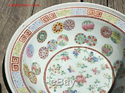 Grand Bol 28cmd D'époque Chinoise Qing Daoguang À Tongzhi Famille Rose Bassin Bol