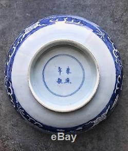 Grand Bol À Dragon Bleu Et Blanc En Porcelaine Antique