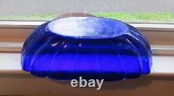 Grand Bol Chinois Antique De Verre De Pékin Bleu Cobalt