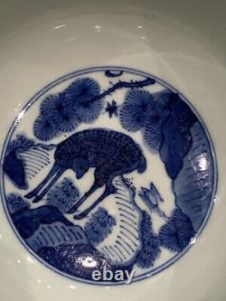 Grand Bol Chinois En Porcelaine Bleue Et Blanche