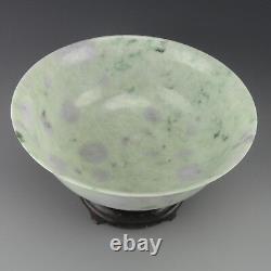 Grand Bol Chinois Jadeite W Wood Stand, Lavande, Vert, Celadon 20e C