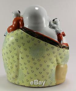 Grand Bouddha Riant En Porcelaine De Chine Famille Rose Antique W. Enfants Marqués