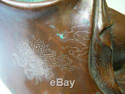 Grand Bronze Chinois Statue Guanyin Avec Du Fil D'argent Signé Zhisao 19thc 15