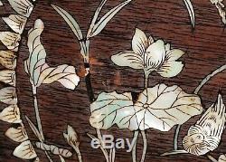 Grand Chinois Bois Coffre De Rangement W. Mop Inlay Oiseaux Et Fleurs Motifs (sif)