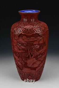 Grand Chinois Cinnabar Laque Vase Avec Scenic République Vues Période