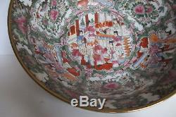 Grand Chinois D'exportation Rose Vintage Médaillon Punch Bowl Figuraux Scènes 14,25
