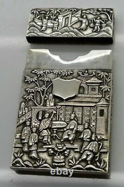 Grand Chinois Exporter L'argent Massif Carte Figurale 10 Chiffres. Wang Hing C1900