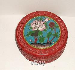 Grand Chinois Floral Sculpté Cinnabar Laque En Émail Cloisonné Bol Boîte Jar