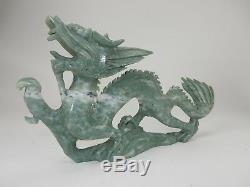 Grand Chinois Jade Hardstone Sculpté Etroitement Dragon Statue 15