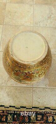Grand Chinois Oriental Asiatique Chinoiserie Potterie Porcelaine Fish Bowl Planter