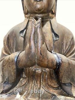 Grand Chinois Sculpté Peint Et Doré Assis Bouddha Guangying 19 Hauteur