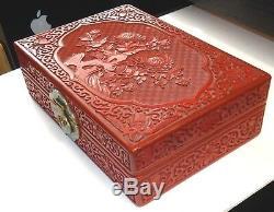 Grand Coffre À Bijoux Chinois En Émail Ciselé À Fleurs Cinabre Cinabre Sculpté
