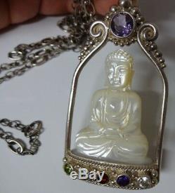 Grand Collier Pendentif Sculpté Chinois Signé Sajen En Argent Sterling Main Bouddha