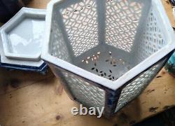 Grand Cran De Cage Bleu Hirado Et Blanc Hexagonal Japonais Censeur/lanterne