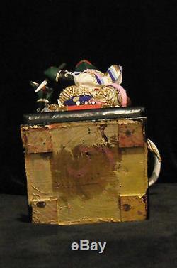 Grand Dieu Taoïste Rare Du Tonnerre Lei Gong (, Lei Kung) Divinité En Bois Sculpté