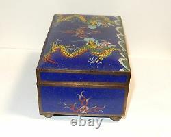 Grand Dragon Chinois Cloisonné Émail Bleu Tronc Forme Humidor Boîte