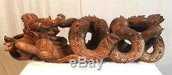 Grand Dragons En Bois Sculpté À La Main Statue / Figurine